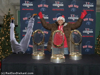 I got to pose with all 3 World Series trophies. This is what it would have looked like if Torii Hunter had dropped by.