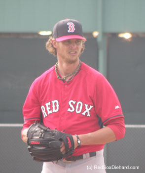 Clay Buchholz threw live B.P. while Pedro watched.