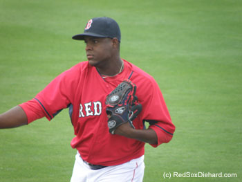Rubby De La Rosa warms up before Game 2.  He started and went two scoreless innings.