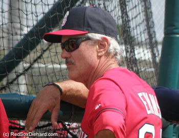 Special instructor Dwight Evans arrived in camp to work with the young hitters.