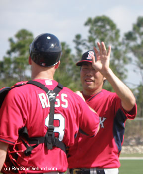Koji Uehara had high-fives for David Ross and the rest of his teammates after throwing live B.P.