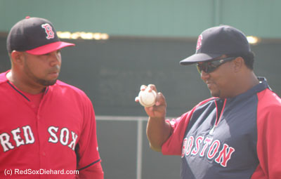 Pedro Martinez imparts some words of wisdom to young lefty Jose Mijares.