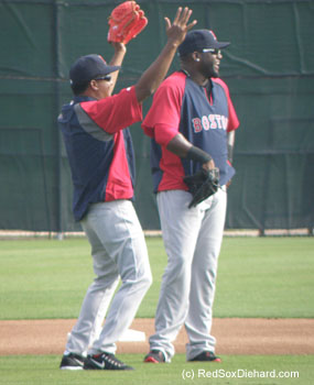 My two all-time favorite players were reunited when Pedro Martinez showed up at the workout.