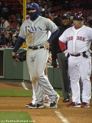 ...but Rays first baseman James Loney had to borrow his outfit from a bank robber.