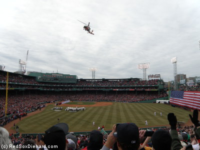 After the player introductions and the National Anthem, there was a flyover by a Coast Guard helicopter.