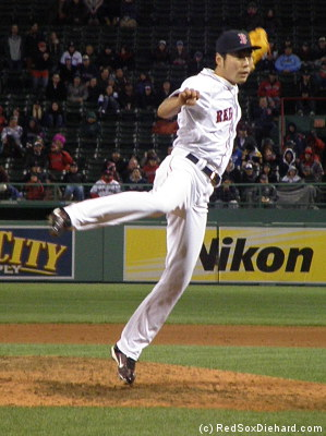 When Koji Uehara's not busy closing out baseball games, he practices karate moves.