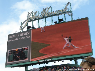 The center field video board showed us the replay several times. See? He's totally out!