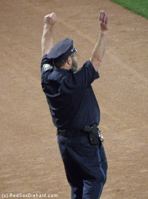 When bullpen cop Steve Horgan comes out between innings, he often raises his arms in the pose he made famous during Big Papi's ALCS grand slam.
