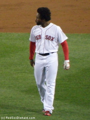 JBJ walks out to his post in center field for the third inning after being stranded on base in the second.