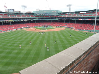 When the A's started their batting practice, I went down from the Green Monster.