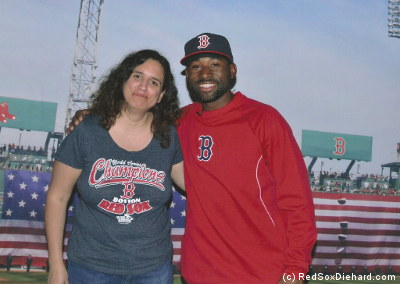 I was still laughing at my own joke when they took my picture with Jackie Bradley, Jr.
