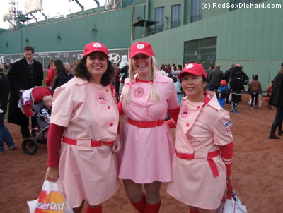 The Rockford Peaches at Fenway Park.
