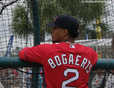 Xander Bogaerts watches an early round of batting practice.