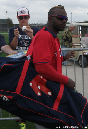 Rusney Castillo is easy to recognize with his unique hairdo.