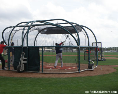 Once again, Big Papi knocked a bunch of towering blasts over the fences during batting practice. (The short ones merely cleared the outfield fence. The long ones bounced off the roof of the batting cages beyond the field.