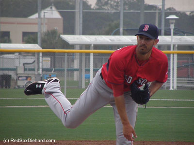 Rick Porcello threw live B.P. to Hanley Ramirez and David Ortiz.