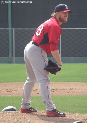 Today was my first chance to see new reliever Robbie Ross, Jr.  He threw live B.P. to Allen Craig and Christian Vazquez.
