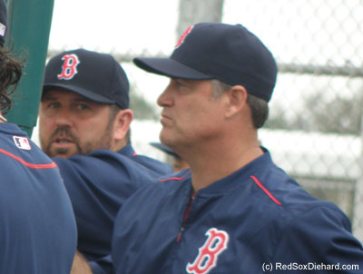 We found a familiar face watching live B.P. alongside John Farrell.  Tek's in camp as a special instructor.