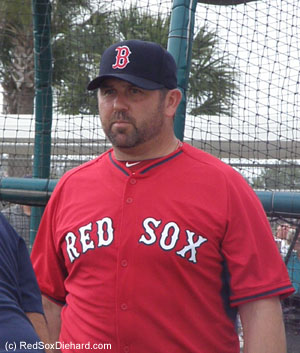 I finally got a good picture of Jason Varitek, who's been watching practice all week and working with the catchers as a special instructor.