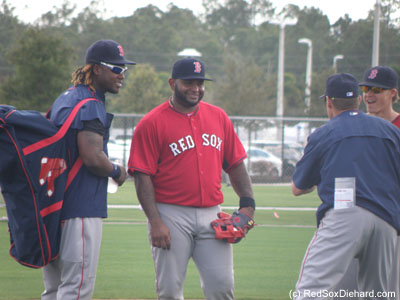 I don't know what Brian Butterfield is saying, but it's cracking Hanley Ramirez, Pablo Sandoval, and Brock Holt up.