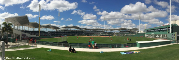 A panorama from the bleachers while the Northeastern players were taking batting practice.