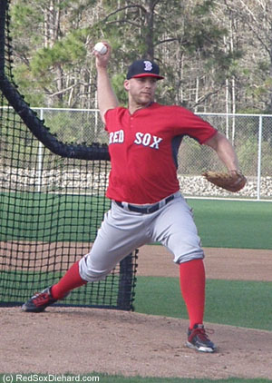 Justin Masterson threw live B.P. to batters from minor league camp.
