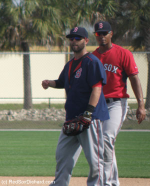 Dustin Pedroia and Xander Bogaerts walk in at the end of a drill where they worked on fielding cut-offs, relays, and bunts.