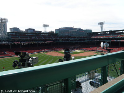 "The new center field camera ""pit"" as seen from the Green Monster during batting practice."