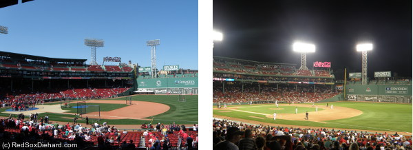 View of the new section of upper deck seats (left) compared to what the area looked like last year (right).
