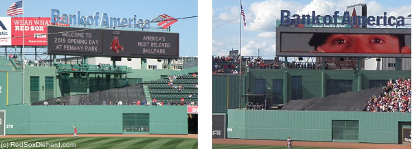 New center field area (left) compared to what it looked like last year (right).