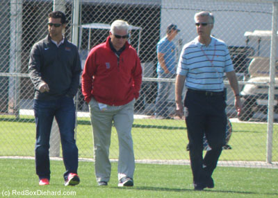 General manager Mike Hazen, Senior VP of Baseball Operations Frank Wren, and President of Baseball Operations Dave Dombrowski walked among the fields to observe the practice.