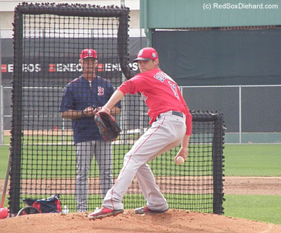 We watched Clay Buchholz throw live batting practice to Dustin Pedroia.  We also saw Rick Porcello, Carson Smith, Junichi Tazawa, and minor leaguer William Cuevas throw to their teammates.