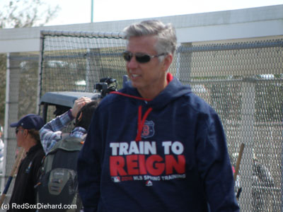 "The ""Train to Reign"" sweatshirts that many of the players were wearing are probably standard MLB issue that every team has in their colors, but I thought it was cool that President of Baseball Operations Dave Dombrowski wore one as he visited the various drills."