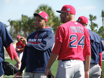 "Eduardo Rodriguez spent a lot of time with fellow lefty David Price. Price is already embracing a leadership role on the team. For the record, I hate the nickname ""E-Rod"" for Rodriguez because it sounds too much like A-Rod. For the purposes of this blog he shall be known as ""Ed-Ro,"" which sounds more like Pedro."