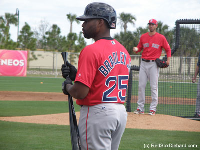 Jackie Bradley Jr. waits his turn as Rick Porcello throws live B.P.