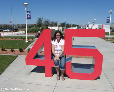 All the retired numbers are on display outside the stadium, so we had to track down the #45 for my alltime favorite player, Pedro Martinez, whose number was retired this past year.
