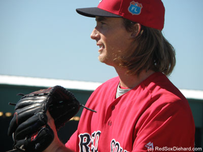 "Left-handed prospect Henry Owens. We found out as a coach called to him during a drill that his nickname is ""Bigfoot."""