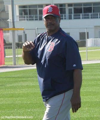 Jim Rice came out to watch while the team stretched. He's just one of several Red Sox alumni who we've seen working with the kids over the past couple of days.  Rich Gedman is the Triple-A hitting coach, and Dwight Evans and Tom Wakefield are special instructors.