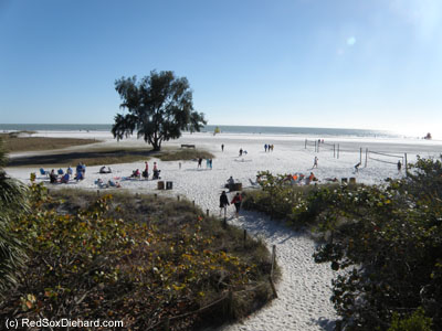 Siesta Key Beach... Air temperature: 62, water temperature: 64, clouds in sky: 0.