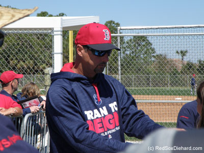 As the workout wrapped up, we were excited to see Tim Wakefield signing autographs. He was one of my favorites in his playing days, and is now in camp to mentor young knuckleballer Steven Wright. I also got autographs from Pablo Sandoval, Travis Shaw, and minor league third baseman Chris Dominguez.
