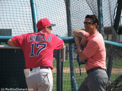 New General Manager Mike Hazen watched batting practice and chatted with bench coach Torey Lovullo.