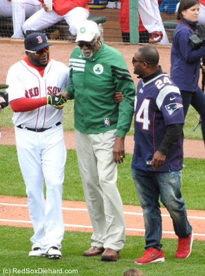 Three of the Boston champions who were featured in the opening ceremony - David Ortiz, Bill Rusell, and Ty Law.  Bobby Orr was there too to represent the Bruins.
