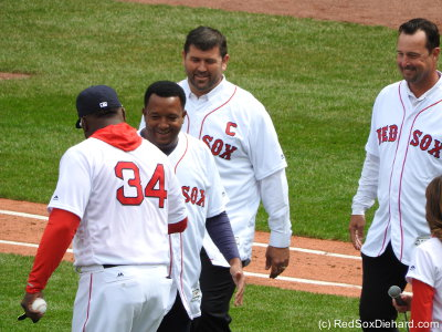 After Big Papi's 15-year-old daughter surprised him by singing the National Anthem, three other beloved players from the recent past joined him on the field.