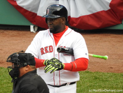 Big Papi steps to the plate. He had two hits and an RBI, but grounded into a double play in the ninth.