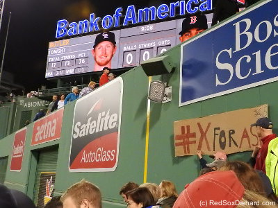 With all the focus on Jackie Bradley's hitting streak, Xander Bogaerts is flying under the radar with a 17-game streak that he extended in the first inning.  Some fans in my section got to re-use their #XforASG sign from last year when we were trying to vote Xander in to the All-Star Game as the final player.  They had crossed out 2015 and written 2016 on the sign.