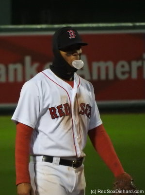 Xander Bogaerts, dirt dog from Aruba, who's so cold he has to wear a ski mask, but not so cold he can't blow a bubble.