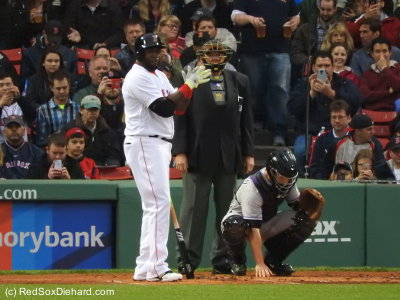 Big Papi drove in two runs with a single in the first inning, and two more with a double in the fourth.