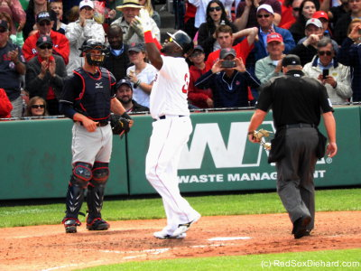 The Red Sox got off to their usual good start, with two runs in the first (on RBI singles by David Ortiz and Hanley Ramirez) and one run in the second (on a ground-rule double by Ortiz). When Big Papi came up in the fifth, he smacked his third hit of the day, home run #514 of his career.