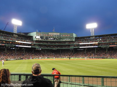 I had a nice seat in Section 40, in the second row behind the Red Sox bullpen.