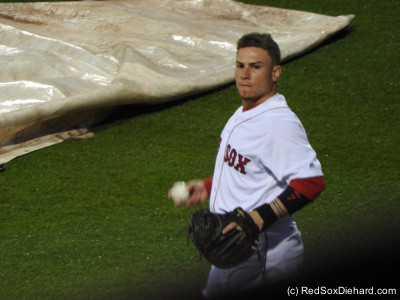 Christian Vazquez warms up in front of the bullpen as the grounds crew prepares to roll up the tarp. This was my first chance to see Vazquez this year as he returns from Tommy John surgery. He's been a favorite of mine since he was in the minors, so it's good to have him back!